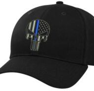 BLACK BALL CAP WITH BLUE LINE SKULL
