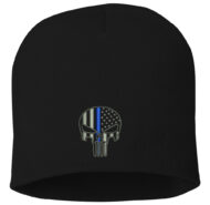 BLUE LINE SKULL BLACK BALL CAP