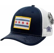 Chicago Flag Navy White Mesh Cap CPD Star on side 9d092eface9